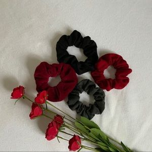 Bundle Of Beautiful Scrunchies Black/Grey/Red Wine